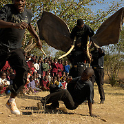 Ingonyama drama group performing a conservation based drama to pupils at Gurambira school Zimbabwe