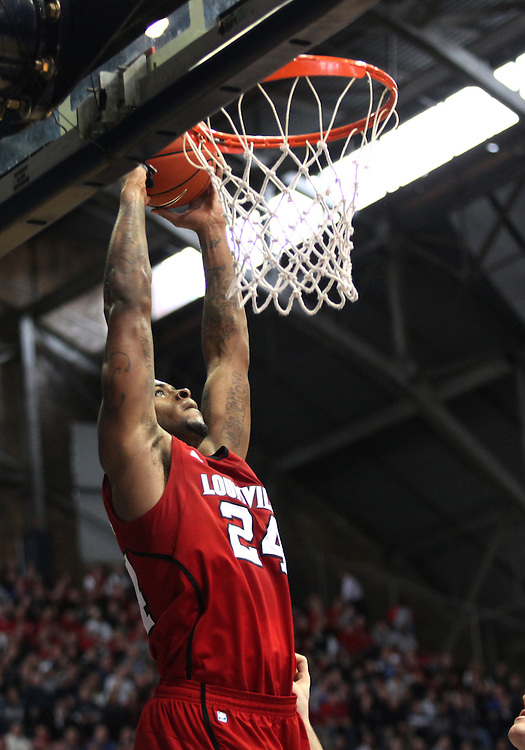 November 19, 2011: Louisville's Chane Behanan dunks the ball against Butler at Hinkle Fieldhouse in Indianapolis, Ind. Louisville won 69-53.