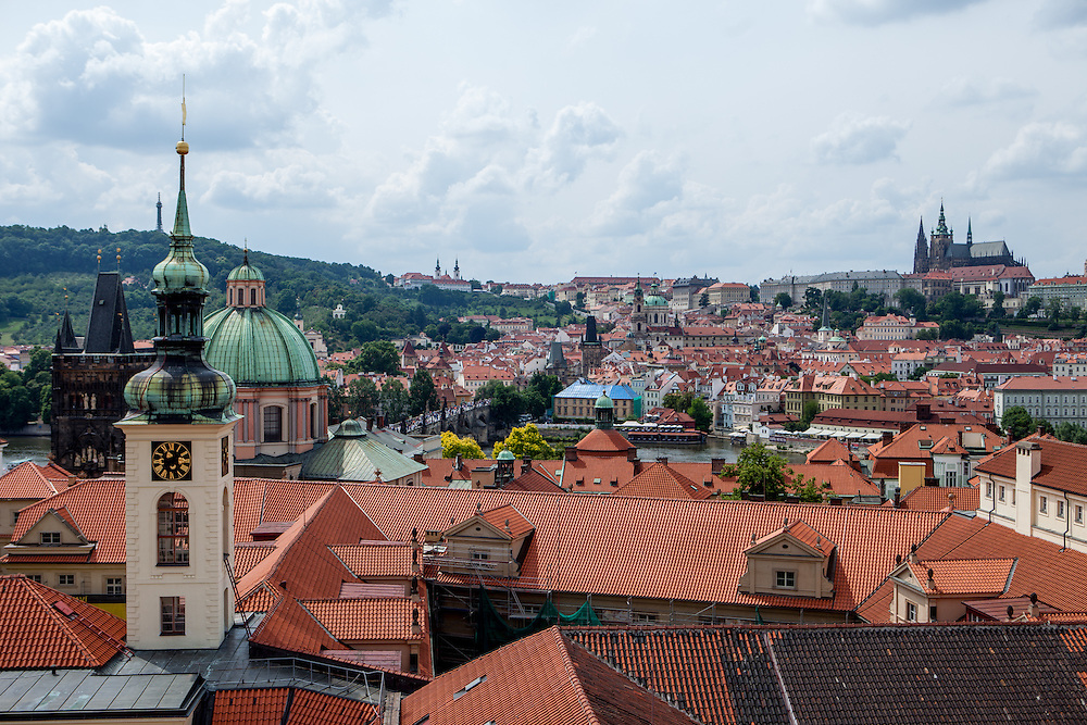 View from the Jesuit College Clementinum Tower towards the Lesser Town (Mala Strana) and Prague Castle.