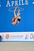 "Baldassarri Milena during hoop routine at the International Tournament of rhythmic gymnastics ""Città di Pesaro"", 01 April, 2016. Milena is an Italian individualistic gymnast, born on October 16, 2001 in Ravenna.<br />