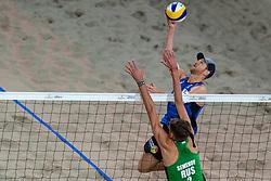 06-01-2019 NED: Dela Beach Open, Den Haag<br /> Netherlands lost the bronze medal from Russia 1-2 / Konstantin Semenov #2 RUS, Alexander Brouwer #1
