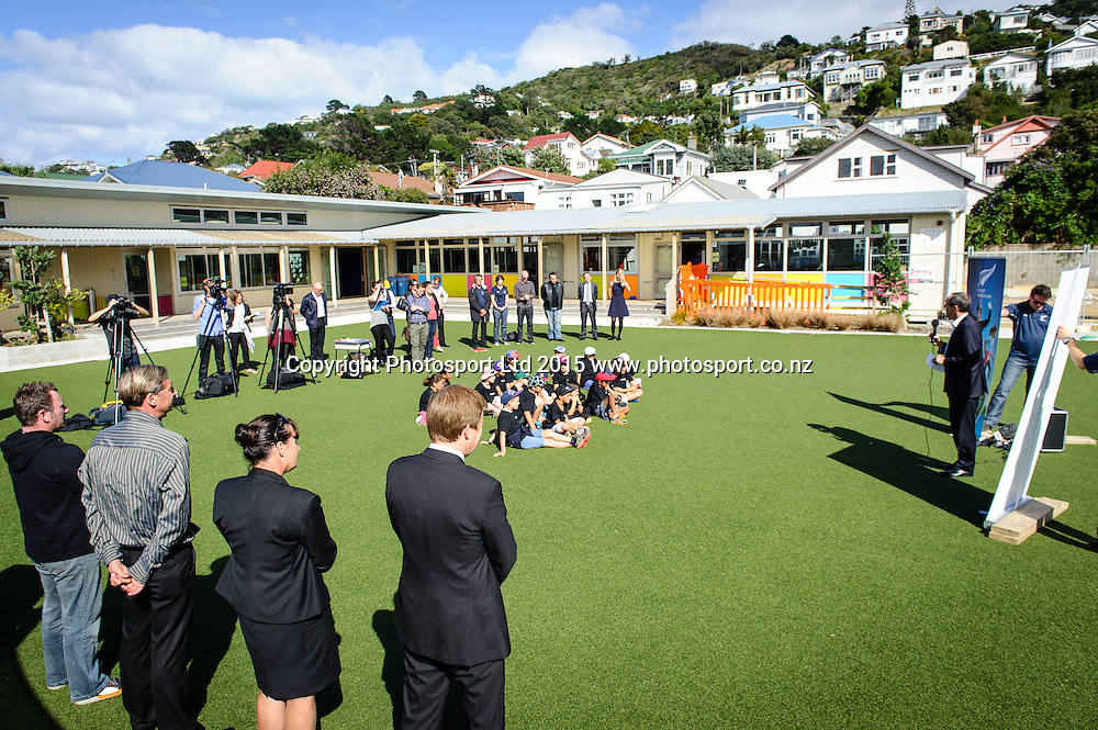 Peter Miskimmin speaks about Sport NZ Strategy during the Launch, Lyall Bay School, Wellington, New Zealand. Friday 20 March 2015. Copyright Photo: Mark Tantrum/www.Photosport.co.nz
