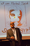 Mohamed Ibrahim from Egypt is administrating the english verson of the Facebook-page We are all Khaled Said. Hellkonferansen 2012.