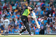 SYDNEY - NOVEMBER 25: Australian player D'Arcy Short hits the ball at the International Gillette T20 cricket match between Australia and India at The Sydney Cricket Ground in NSW on November 25, 2018. (Photo by Speed Media/Icon Sportswire)