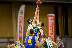 Dimec of KK Krka and Smiljan Pavic of KK Sencur GGD during basketball match between KK Krka and KK Sencur GGD in 1st Semifinal of Slovenian Spar Cup 2017/18, on February 16, 2018 in Sports hall Tivoli, Ljubljana, Slovenia. Photo by Urban Urbanc / Sportida