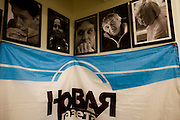 Pictures commemorating  Novaya Gazeta newspaper journalists killed at work hang in the office in Moscow. Novaya Gazeta is one of the few remaining independent media outlets in Russia that dare to challenge the Kremlin, but it has paid a heavy price for its courage. Anna Politkovskaya, the newspaper's most prominent journalist, was gunned down in her apartment block in Moscow in 2006.   ..Picture by Justin Jin.