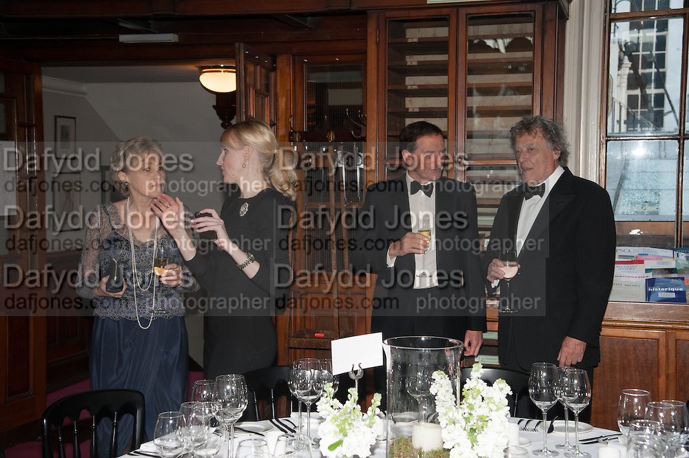 HARRIET TUCKEY; AIMEE HEUZENROEDER; JAMES TUCKEY; SIR TOM STOPPARD, The London Library Annual  Life in Literature Award 2013 sponsored by Heywood Hill. The London Library Annual Literary dinner. London Library. St. james's Sq. London. 16 May 2013.