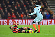 Ryan Fraser (24) of AFC Bournemouth is fouled by Ngolo Kante (7) of Chelsea during the Premier League match between Bournemouth and Chelsea at the Vitality Stadium, Bournemouth, England on 30 January 2019.