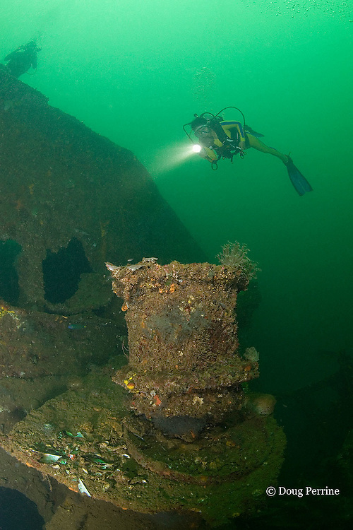 divers explore the wreck of the USS New York ( aka USS Rochester / USS Saratoga ), a 117 m long American armored cruiser. The wreck lies on its port side in 27 m of water with the starboard side at a depth of 18m in the Port of Olongapo, Subic Bay, Philippines. The ship was scuttled Dec. 14, 1941 to prevent capture by the Japanese.<br /> MR 379