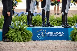 Team Germany, Gold Medal, Werth Isabell, Schneider DForothee, Rothenberger Sönke, Von Bredow-Werndl Jessica, Röser Klaus<br /> World Equestrian Games - Tryon 2018<br /> © Hippo Foto - Stefan Lafrentz<br /> 13/09/2018