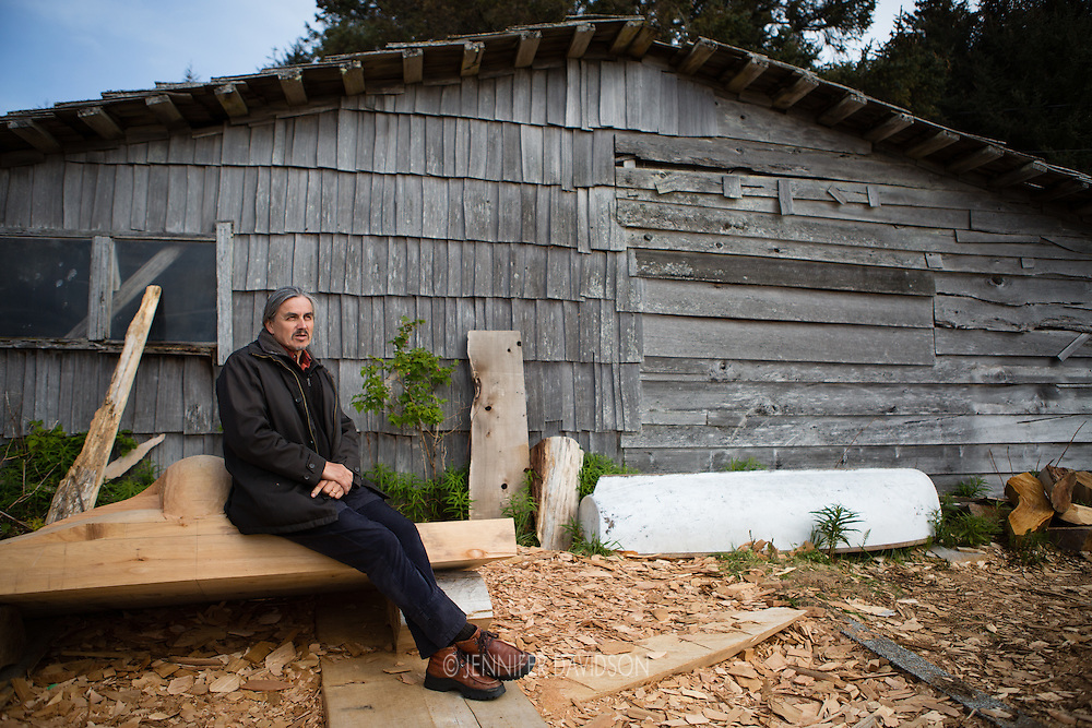 World-renowned Haida artist Jim Hart outside his home/studio in Old Masset, Haida Gwaii.