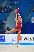 Mickova Monika of Czech Republic competes during the rhythmic gymnastics individual ball qualification of the World Cup at Adriatic Arena on April 1, 2016 in Pesaro, Italy.<br /> Monika was born in Brno in Czech Republic in 1991.
