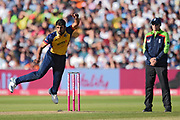 Ravi Bopara of Essex Eagles bowling during the Vitality T20 Finals Day 2019 match between Derbyshire Falcons and Essex Eagles at Edgbaston, Birmingham, United Kingdom on 21 September 2019.