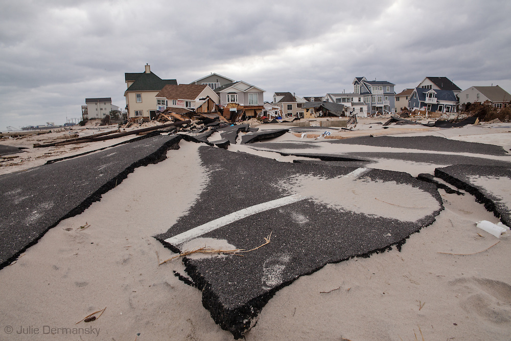 November 18, Ortley , Beach front homes and road destroyed by Superstorm Sandy's surge. Hurricane Sandy hit the Jersey Shore as a tropical storm causing billions of dollars of damage and cutting electricity to hundreds of thousands. Extreme weather is being blamed on climate change by many scientist.