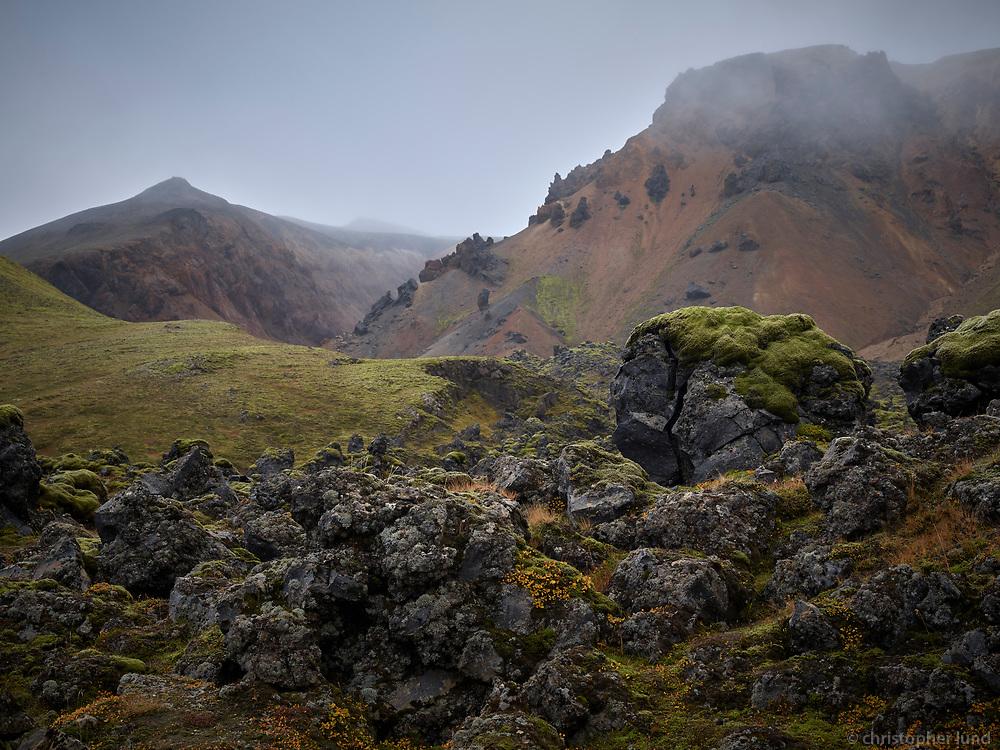 Frostastaðaháls lava, view towards Suðurnámur mountains. Central Highlands of Iceland.