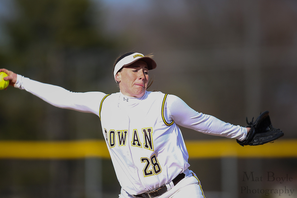 Rowan University Softball Junior Pitcher/Infielder Krysti Maronski (28) - Ursinus College Softball vs Rowan University at Rowan University's Softball Field in Glassboro, NJ on Wednesday March 27, 2013. (photo / Mat Boyle)