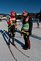 05.01.2011, Nordic Arena, Toblach, ITA, FIS Cross Country, Tour de Ski, Qualifikation Sprint Women and Men, im Bild Katrin Zeller (GER, #28) mit Betreuer. EXPA Pictures © 2011, PhotoCredit: EXPA/ J. Groder