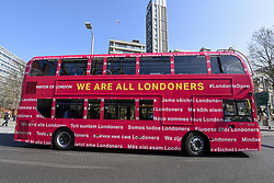 March 29, 2019 - London, UK - LONDON, UK.  Mayor of London, Sadiq Khan, launches a branded ''We are all Londoners'' bus (pictured) as a it begins a four-day ''advice roadshow'' across the capital.  Staff on the bus will visit locations with high numbers of European nationals, offering them guidance on how to apply for Settled Status to remain in the UK following Brexit.  The bus tour coincides with the opening of the Government's EU Settlement Scheme. (Credit Image: © Stephen Chung/London News Pictures via ZUMA Wire)
