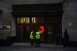 November 2, 2018 - London, England, United Kingdom - View of Sony headquarters as it's been evacuated after an armed Police intervention in the building, London on November 2, 2018. Two people have been stabbed at the Sony HQ in west London and one person has been arrested. (Credit Image: © Alberto Pezzali/NurPhoto via ZUMA Press)