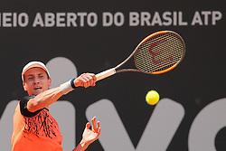February 27, 2017 - Renzo Olivo (ARG) em partida contra Inigo Cervantes (ESP) durante o Brasil Open 2017 realizada no Esporte Clube Pinheiros em São Paulo (SP) (Credit Image: © Jales Valquer/Fotoarena via ZUMA Press)