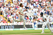 Wicket - Sam Curren of England celebrates taking the wicket of KL Rahul of India during second day of the Specsavers International Test Match 2018 match between England and India at Edgbaston, Birmingham, United Kingdom on 2 August 2018. Picture by Graham Hunt.