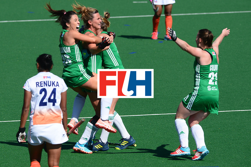 JOHANNESBURG, SOUTH AFRICA - JULY 22: Anna O'Flanagan of Ireland celebrates with her team mates during day 8 of the FIH Hockey World League Women's Semi Finals 7th-8th place match between India and Ireland at Wits University on July 22, 2017 in Johannesburg, South Africa. (Photo by Getty Images/Getty Images)