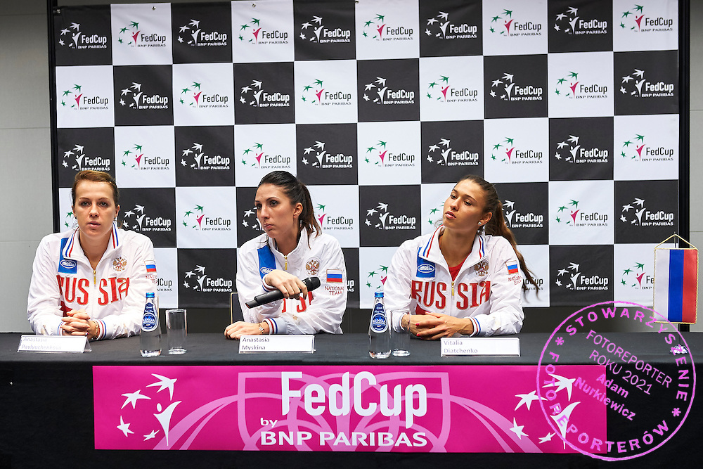 (L) Anastasia Pavyuchenkova and (C) Trainer coach Anastasia Myskina and (R) Vitalia Diatchenko all from Russia while press conference during Second Day of the Fed Cup / World Group 1st round tennis match between Poland and Russia at Tauron Krakow Arena on February 8, 2015 in Cracow, Poland.<br /> <br /> Poland, Cracow, February 8, 2015<br /> <br /> Picture also available in RAW (NEF) or TIFF format on special request.<br /> <br /> For editorial use only. Any commercial or promotional use requires permission.<br /> <br /> Adam Nurkiewicz declares that he has no rights to the image of people at the photographs of his authorship.<br /> <br /> Mandatory credit:<br /> Photo by &copy; Adam Nurkiewicz / Mediasport