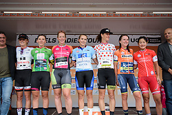 (Left to Right) Floortje Mackaij, Lisa Brennauer, Kirsten Wild, Winanda Spoor, Natalie van Gogh, Annemiek van Vleuten, Eri Yonamine at Boels Rental Ladies Tour Stage 2 a 132.8 km road race from Eibergen to Arnhem, Netherlands on August 30, 2017. (Photo by Sean Robinson/Velofocus)