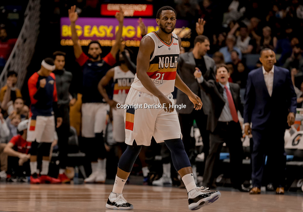 Dec 31, 2018; New Orleans, LA, USA; New Orleans Pelicans forward Darius Miller (21) after hitting a three point basket against the Minnesota Timberwolves during the fourth quarter at the Smoothie King Center. Mandatory Credit: Derick E. Hingle-USA TODAY Sports