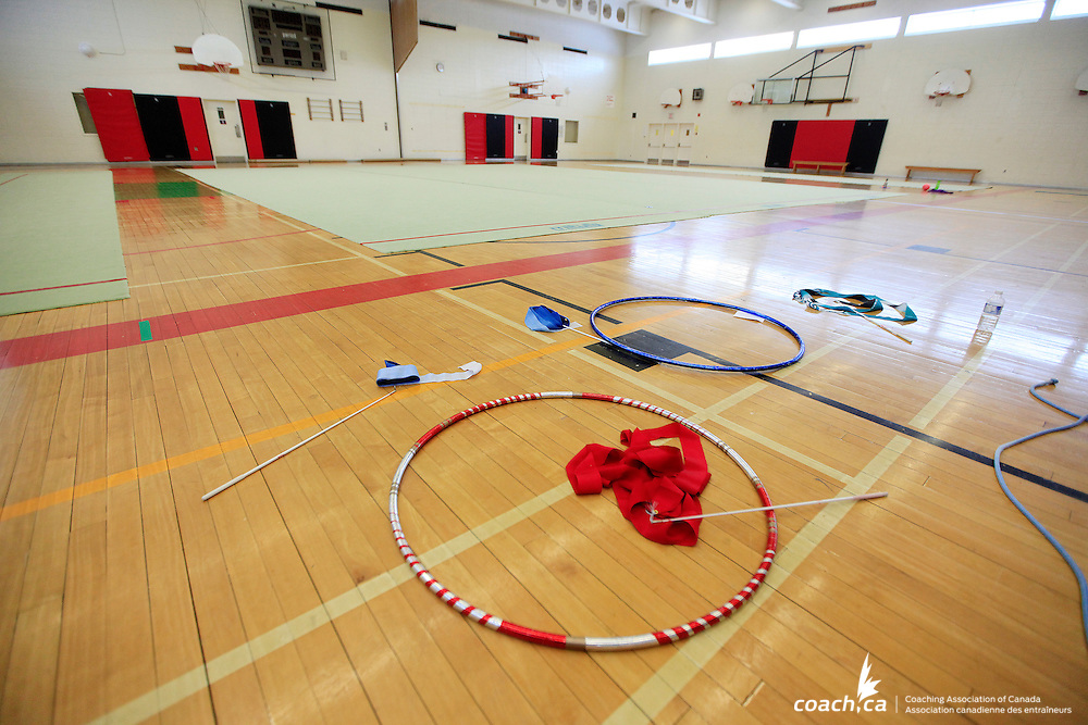 Equipment is seen on the floor of a gym during training of the Kanata Rhythmic Sportive Gymnastics Club in Ottawa, March 14, 2014. Photos  by Andre Forget