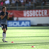U.S. forward Abby Wambach (20) warms up prior to a women's soccer International friendly match between Brazil and the United States National Team, at the Florida Citrus Bowl  on Sunday, November 10, 2013 in Orlando, Florida. The U.S won the game by a score of 4-1.  (AP Photo/Alex Menendez)