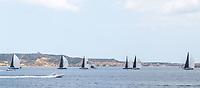 The fleet of the Rolex Maxi Cup 2017 in Porto Cervo, Costa Smeralda, Porto Cervo, Sardinia, Italy organised by the Yacht Club Costa Smeralda (YCCS).