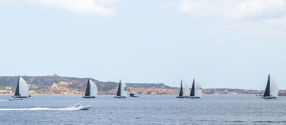 The fleet of the Rolex Maxi Cup 2017 in Porto Cervo, Costa Smeralda, Porto Cervo, Sardinia, Italy organised by the Yacht Club Costa Smeralda (YCCS).