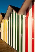 Multicoloured beach huts, San Juan beach, Alicante, Spain,Europe