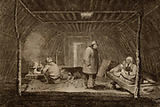 Summer Habitation of the Superior People of Kamtschatka'. Engraving from 'New System of Geography' by Thomas Bankes (London, c1785). Inhabitants ot the Kamchatka Peninsula, Russian Far East in a dwelling which seems to be wood covered with a turf thatch.  Food is being cooked in a pot hanging over an open fire. Two women are seated on some form of matting on a slightly raised platform.