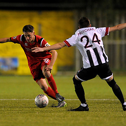 TELFORD COPYRIGHT MIKE SHERIDAN Niall Flint in action during the Cymru Premier fixture between Cefn Druids and Newtown AFC at the Rock on Friday, October 11, 2019<br /> <br /> Picture credit: Mike Sheridan/Ultrapress<br /> <br /> MS201920-024