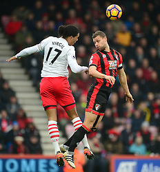 Virgil van Dijk of Southampton wins a high ball over Simon Francis of Bournemouth - Mandatory by-line: Alex James/JMP - 18/12/2016 - FOOTBALL - Vitality Stadium - Bournemouth, England - Bournemouth v Southampton - Premier League
