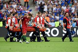 Cristiano Ronaldo of Portugal leaves the pitch on a stretcher  - Mandatory by-line: Joe Meredith/JMP - 10/07/2016 - FOOTBALL - Stade de France - Saint-Denis, France - Portugal v France - UEFA European Championship Final