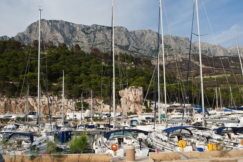 The new charter marina in Krvavica by the foot of the Biokovo, the second highest mountain in Croatia.