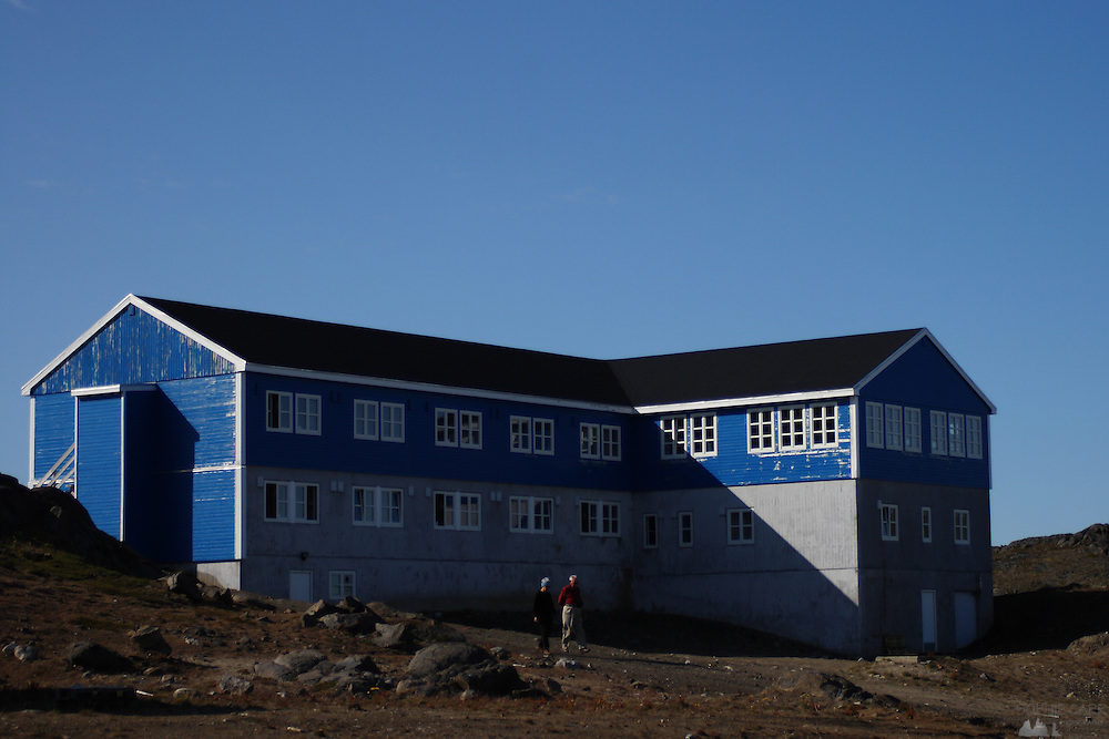 The Kulusuk Hotel in Kulusuk, south-east Greenland - it has magnificent views over an iceberg-filled fjord