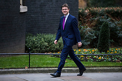 © Licensed to London News Pictures. 08/01/2018. London, UK. Secretary of State for Business, Energy and Industrial Strategy Greg Clark arrives on Downing Street as Prime Minister Theresa May reshuffles the Cabinet. Photo credit: Rob Pinney/LNP