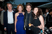 HANS ULRICH OBRIST; JULIA PEYTON-JONES;  Ewan McGregor; Eve Mavrakis, The Summer party 2011 co-hosted by Burberry. The Summer pavilion designed by Peter Zumthor. Serpentine Gallery. Kensington Gardens. London. 28 June 2011. <br /> <br />  , -DO NOT ARCHIVE-© Copyright Photograph by Dafydd Jones. 248 Clapham Rd. London SW9 0PZ. Tel 0207 820 0771. www.dafjones.com.
