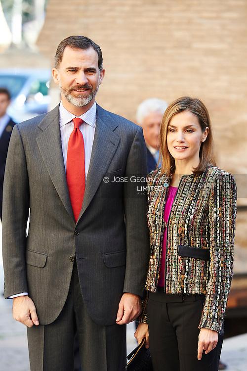 King Felipe VI of Spain and Queen Letizia of Spain visited Palacio de la Alfajeria on March 10, 2015 in Zaragoza, Spain