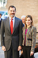 King Felipe VI of Spain and Queen Letizia of Spain visited Palacio de la Alfajeria on March 10, 2015 in Zaragoza, Spain
