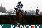 Third placed Gino Trail with Jamie Moore on board at the last in The Zut Media Red Rum Handicap Steeple Chase Race at Aintree, Liverpool, United Kingdom on 12 April 2018. Picture by Craig Galloway.