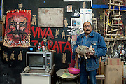 Painter and sculptor Alvaro Blancarte in his studio at the University of Baja California in Tecate, Baja California, Mexico.<br /> <br /> &copy; Stefan Falke<br /> www.stefanfalke.com<br /> La Frontera: Artists along the US Mexican Border