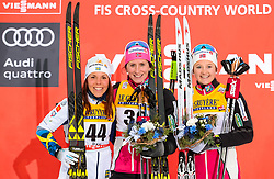 25.11.2017, Nordic Arena, Ruka, FIN, FIS Weltcup Langlauf, Nordic Opening, Kuusamo, im Bild Charlotte Kalla (SWE), Siegerin Marit Bjoergen (NOR), Ingvild Flugstad Oestberg (NOR) // Charlotte Kalla of Sweden, Winner Marit Bjoergen of Norway, Ingvild Flugstad Oestberg of Norway  during the FIS Cross Country World Cup of the Nordic Opening at the Nordic Arena in Ruka, Finland on 2017/11/25. EXPA Pictures © 2017, PhotoCredit: EXPA/ JFK