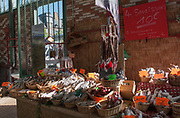 """Rennes, FRANCE. General View GV. Rennes weekly regional market. Brittany,<br /> <br /> """"Different Air Dried meats and Sausages"""", sold from stalls in the open and covered market  <br /> <br /> Saturday  26/04/2014 <br /> <br /> © Peter SPURRIER, <br /> <br /> NIKON CORPORATION  NIKON D700  f7.1  1/320sec  24mm  7.3MB"""