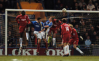 Photo: Daniel Hambury.<br />Portsmouth v Liverpool. The FA Cup. 29/01/2006.<br />Portsmouth's Sean Davis scores to make it 1-2.