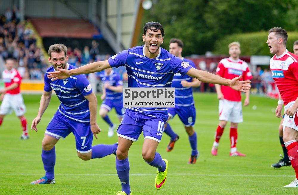 Brechin City v Dunfermline Athletic SPFL League One Season 2015/16 Glebe Park 08 August 2015<br /> Faissal El Bakhtaoui celebrates making it 1-0<br /> CRAIG BROWN   sportPix.org.uk